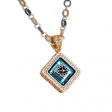 M264 ~ Sterling Silver & Swarovski - Medieval Byzantine Pendant Necklace