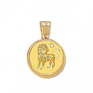 Zodiac Sign Round Charm Pendant ~ 14K Solid Yellow Gold