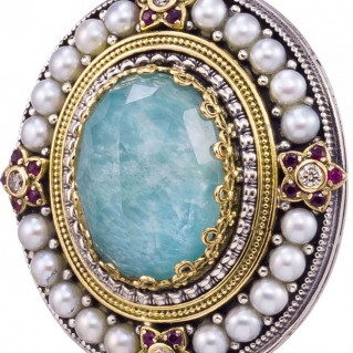 Gerochristo 3282Ν ~ Solid Gold & Sterling Silver Medieval Multi-Stone Imperial Oval Pendant