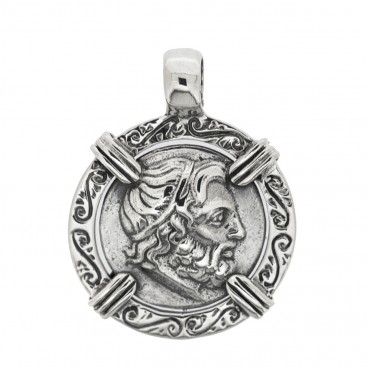 Zeus-Minos and Labyrinth - Knossos Crete Tetradrachm ~ Savati 273 ~ Sterling Silver Coin Pendant