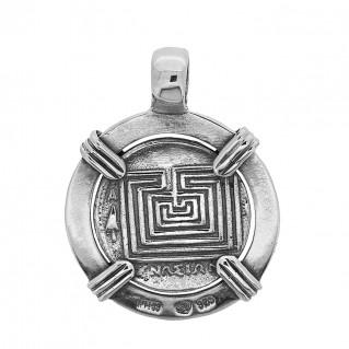 Zeus-Minos and Labyrinth - Knossos Crete Tetradrachm ~ Savati 273 ~ Sterling Silver Coin Pendant