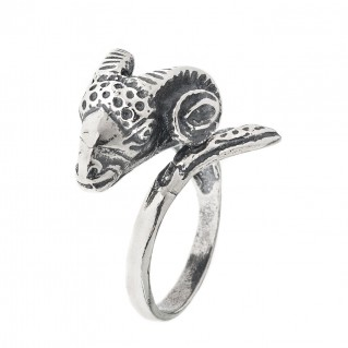 Ram's Head - Sterling Silver Wrap Ring - Large
