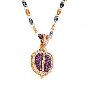 M268 ~ Sterling Silver and Zircon - Pomegranate Pendant Necklace