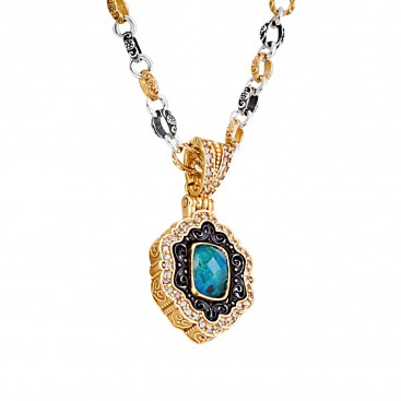 M271~ Sterling Silver Medieval Doublet Pendant Necklace with Quartz over Chrysocolla