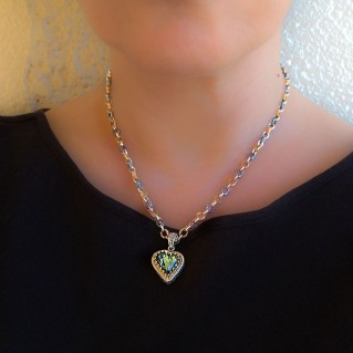 M273 ~ Sterling Silver Heart Pendant Necklace with Swarovski