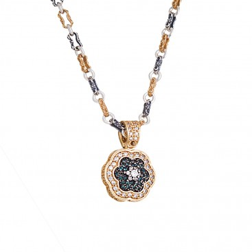 M275 ~ Sterling Silver and Zircon - Flower Pendant Necklace