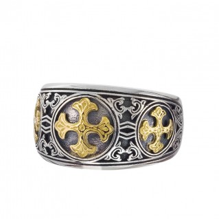 Gerochristo 2982N ~ Solid Gold & Silver Byzantine-Medieval Band Ring with Crosses