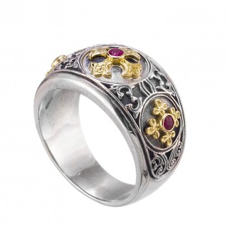 Gerochristo 2983N ~ Solid Gold, Silver & Rubies Byzantine-Medieval Band Ring with Crosses