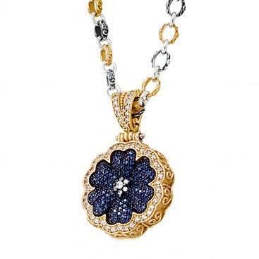 M280 ~ Sterling Silver and Zircon - Flower Pendant Necklace