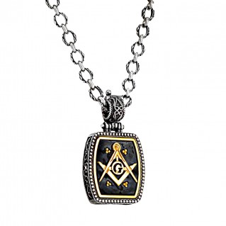 M288 ~ Sterling Silver & Enamel Masonic Pendant Necklace