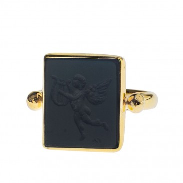 Solid Gold Intaglio Seal Stone Onyx Ring with Carved Eros ~ Savati 275