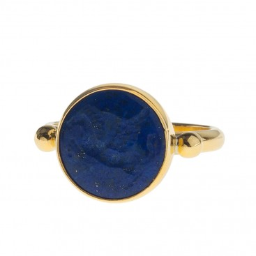 Solid Gold Intaglio Seal Stone Lapis Lazuli Ring with Carved Pegasus ~ Savati 276