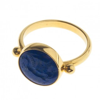 Solid Gold Intaglio Seal Stone Lapis Lazuli Ring with Carved Pegasus ~ Savati 276