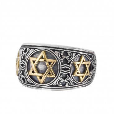 Gerochristo 2984N ~ Solid Gold & Silver Star of David Band Ring