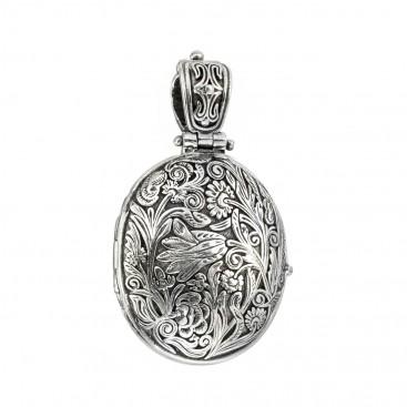 Gerochristo 3335N ~ Sterling Silver Medieval Floral Oval Locket Pendant