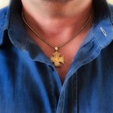 Gerochristo 5314 ~ Solid Gold & Silver Maltese Cross Pendant