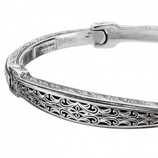 Gerochristo 6419N ~ Sterling Silver Byzantine Men's Bangle Bracelet