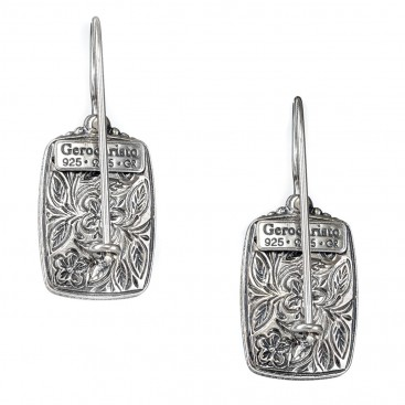 Gerochristo 1620N ~ Sterling Silver Medieval Rectangular Earrings with Doublet Stones