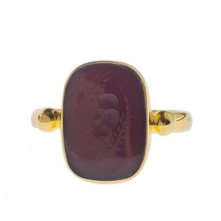 Solid Gold Intaglio Seal Stone Carnelian Ring with Carved Owl ~ Savati 279