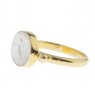 Solid Gold Intaglio Seal Stone Mother of Pearl Ring with Carved Eros ~ Savati 280