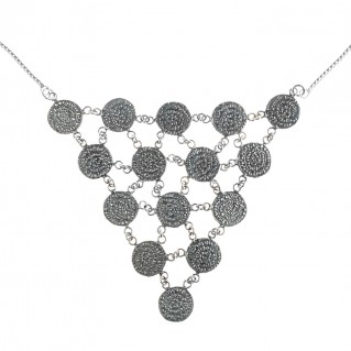 Minoan Phaistos Disk ~ Sterling Silver Multi-Disc Bib Necklace