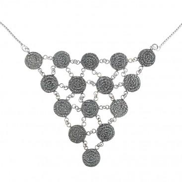 Minoan Phaistos Disk ~ Sterling Silver Multi-Disc Bib Necklace