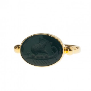 Solid Gold Intaglio Seal Stone Bloodstone Ring with Carved Trireme ~ Savati 281