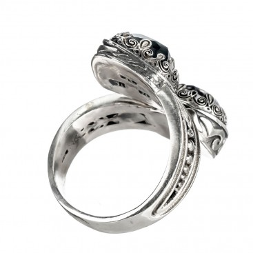 Gerochristo 2878N ~ Sterling Silver Cocktail Bypass Ring with Doublet Stones