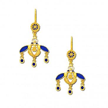 Minoan Cretan Malia Bees ~ 18K Solid Yellow Gold and Enamel Earrings
