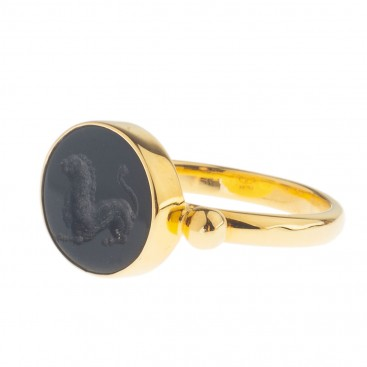 Solid Gold Intaglio Seal Stone Onyx Ring with Lion~ Savati 282