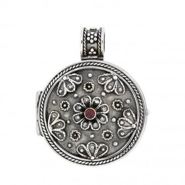 Savati 283 ~ Sterling Silver Byzantine Round Floral Locket Pendant