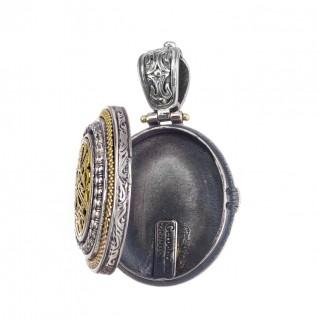 Gerochristo 3306N ~ Chi Rho-Chrismon ~ Solid Gold & Silver Medieval Byzantine Locket Pendant