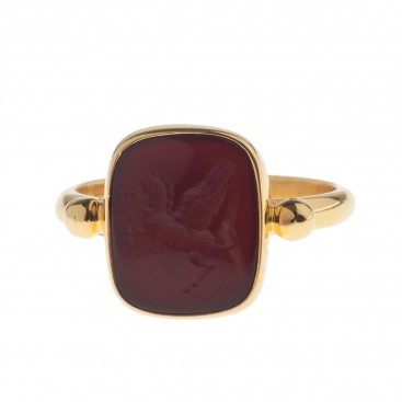 Solid Gold Intaglio Seal Stone Carnelian Ring with Carved Pegasus ~ Savati 285