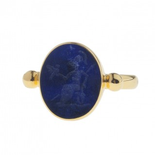 Solid Gold Intaglio Seal Stone Lapis Lazuli Ring with Carved Athena ~ Savati 286