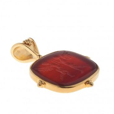Solid Gold Intaglio Seal Stone Carnelian Pendant with Eros ~ Savati 287