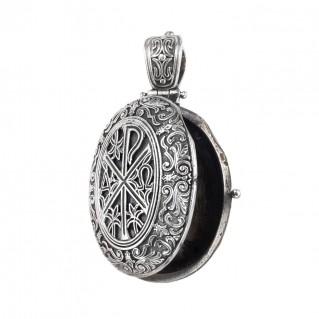 Gerochristo 3336N ~ Chi Rho-Chrismon ~ Sterling Silver Medieval Byzantine Locket Pendant