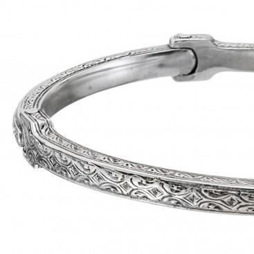 Gerochristo 6427N ~ Sterling Silver Byzantine Men's Bangle Bracelet