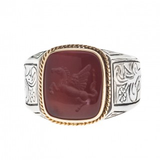 Solid Gold & Silver Intaglio Seal Stone Carnelian Ring with Carved Pegasus ~ Savati 288