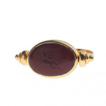 Solid Gold Intaglio Seal Stone Carnelian Swivel Ring with Eros ~ Savati 289