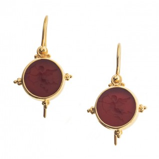 Solid Gold Intaglio Seal Stone Carnelian Drop Earrings with Eros ~ Savati 290