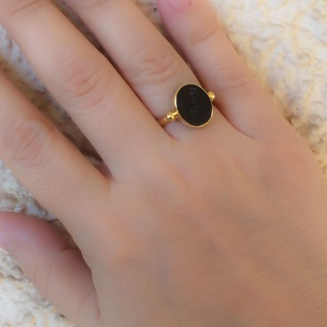 Solid Gold Intaglio Seal Stone Onyx Ring with Carved Athena ~ Savati 292