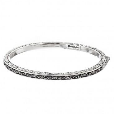 Gerochristo 6410N ~ Sterling Silver Medieval-Byzantine Engraved Bangle Bracelet