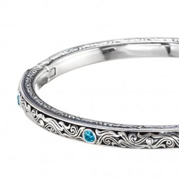 Gerochristo 6406N ~ Sterling Silver Medieval-Byzantine Engraved Bangle Bracelet