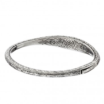 Gerochristo 6400N ~ Sterling Silver Medieval-Byzantine Engraved Bangle Bracelet