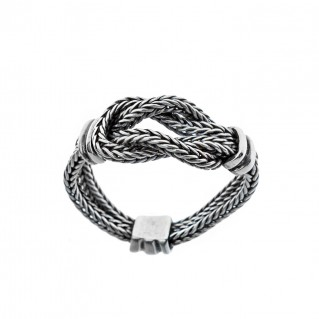Hercules Knot ~ Sterling Silver Chain Flex Band Ring - Savati 293