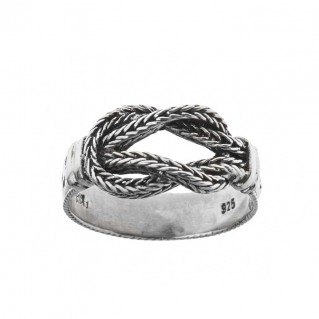 Hercules Knot ~ Sterling Silver Engraved Band Ring - Savati 294