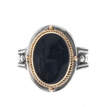 Solid Gold & Silver Intaglio Seal Stone Onyx Ring with Carved Athena ~ Savati 277