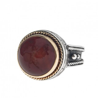 Solid Gold & Silver Intaglio Seal Stone Carnelian Ring with Carved Eros ~ Savati 278