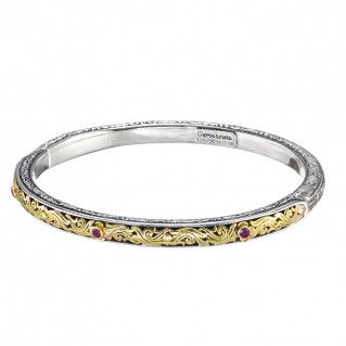 Gerochristo 6403N ~ Solid Gold & Silver Medieval-Byzantine Engraved Bangle Bracelet