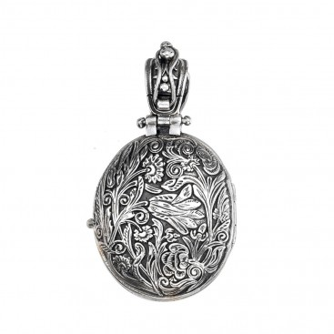 Gerochristo 3305N ~ Solid Gold and Silver Medieval Floral Locket Pendant